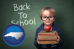 the back-to-school concept - with North Carolina icon