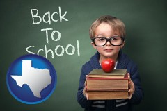 the back-to-school concept - with Texas icon
