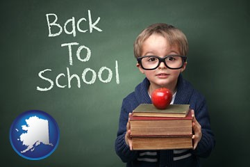 the back-to-school concept - with Alaska icon