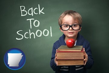 the back-to-school concept - with Arkansas icon