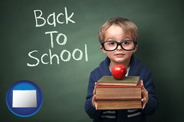 the back-to-school concept - with Colorado icon