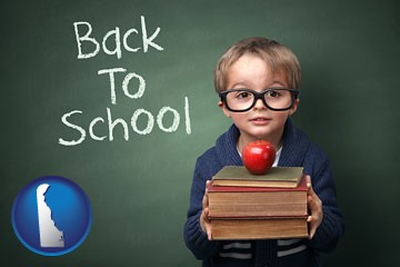 the back-to-school concept - with Delaware icon