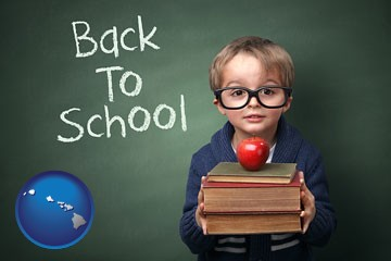 the back-to-school concept - with Hawaii icon