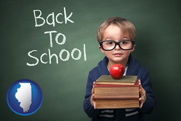 the back-to-school concept - with Illinois icon