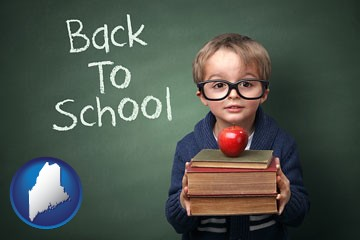 the back-to-school concept - with Maine icon