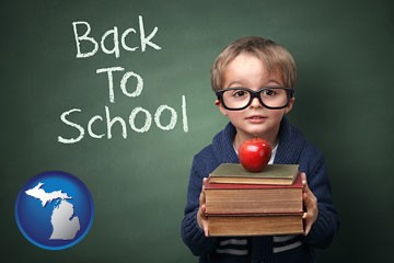 the back-to-school concept - with Michigan icon