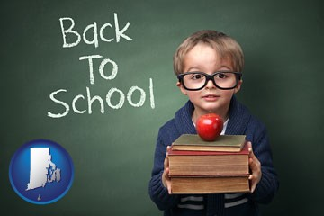the back-to-school concept - with Rhode Island icon