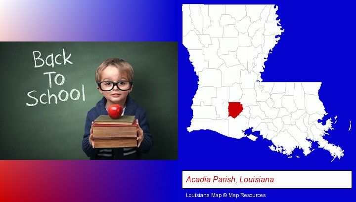 the back-to-school concept; Acadia Parish, Louisiana highlighted in red on a map