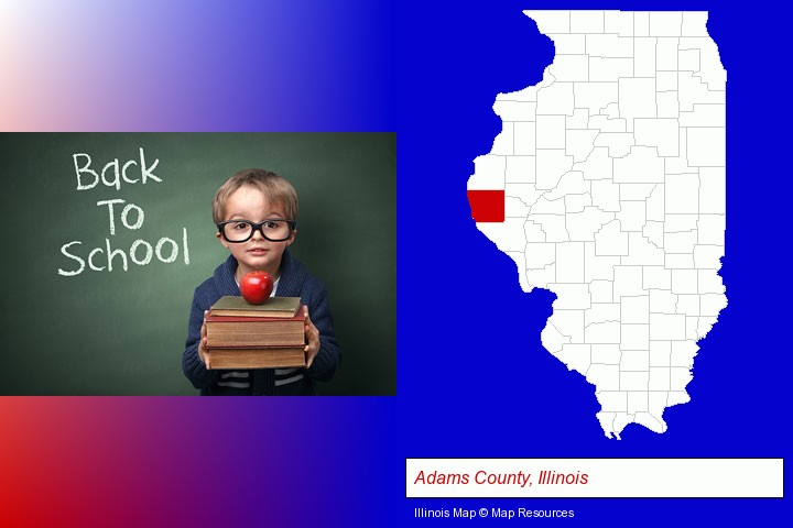 the back-to-school concept; Adams County, Illinois highlighted in red on a map
