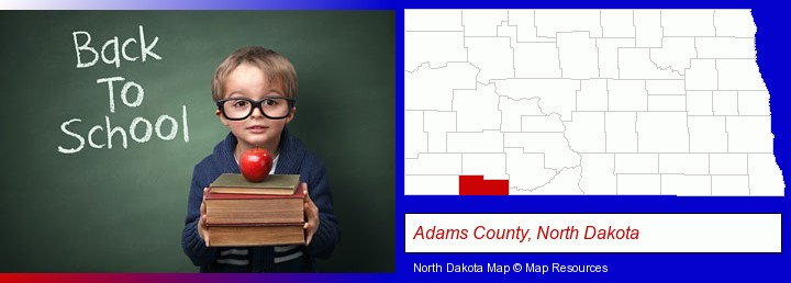the back-to-school concept; Adams County, North Dakota highlighted in red on a map