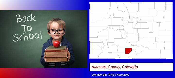 the back-to-school concept; Alamosa County, Colorado highlighted in red on a map