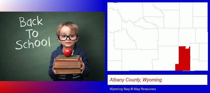 the back-to-school concept; Albany County, Wyoming highlighted in red on a map