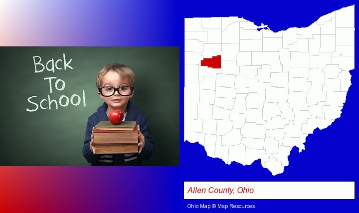 the back-to-school concept; Allen County, Ohio highlighted in red on a map
