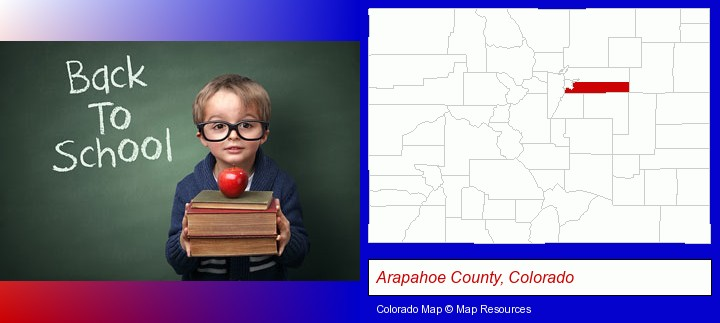 the back-to-school concept; Arapahoe County, Colorado highlighted in red on a map