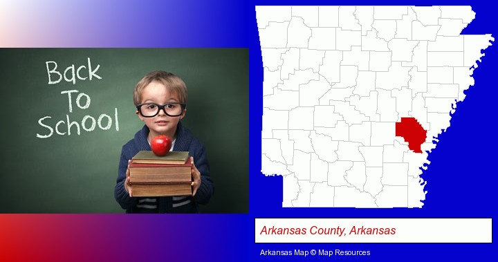 the back-to-school concept; Arkansas County, Arkansas highlighted in red on a map