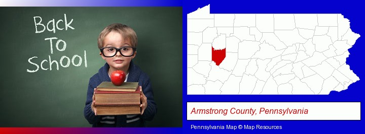 the back-to-school concept; Armstrong County, Pennsylvania highlighted in red on a map
