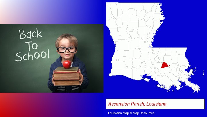 the back-to-school concept; Ascension Parish, Louisiana highlighted in red on a map