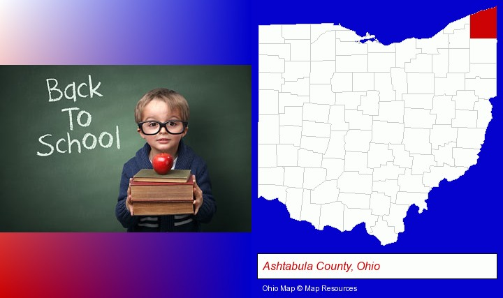 the back-to-school concept; Ashtabula County, Ohio highlighted in red on a map