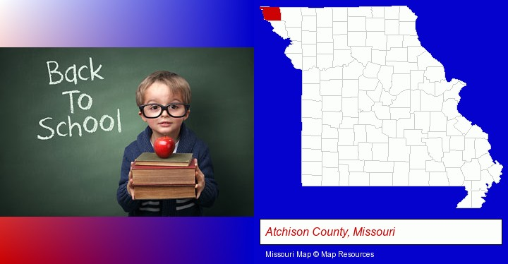 the back-to-school concept; Atchison County, Missouri highlighted in red on a map