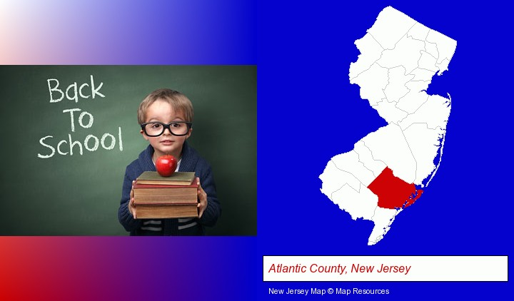 the back-to-school concept; Atlantic County, New Jersey highlighted in red on a map