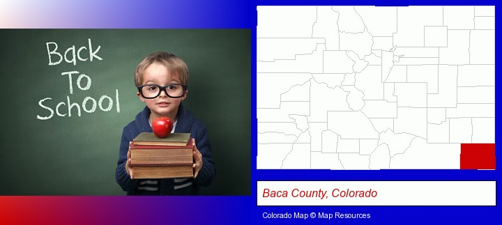 the back-to-school concept; Baca County, Colorado highlighted in red on a map