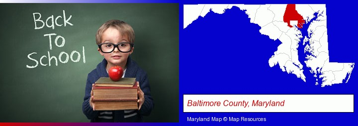 the back-to-school concept; Baltimore County, Maryland highlighted in red on a map
