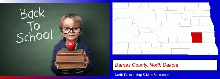 the back-to-school concept; Barnes County, North Dakota highlighted in red on a map