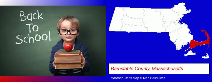 the back-to-school concept; Barnstable County, Massachusetts highlighted in red on a map