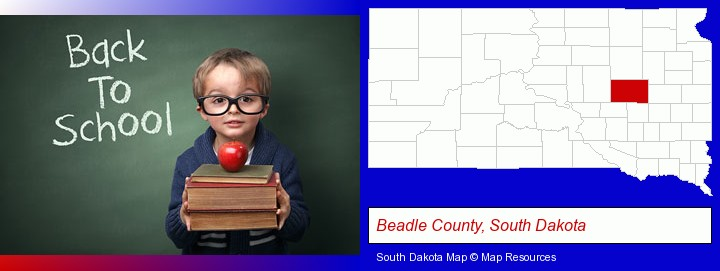 the back-to-school concept; Beadle County, South Dakota highlighted in red on a map