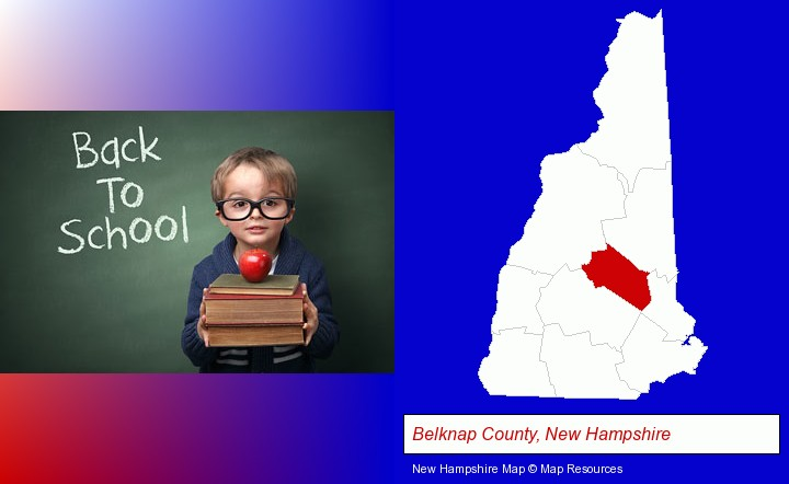 the back-to-school concept; Belknap County, New Hampshire highlighted in red on a map