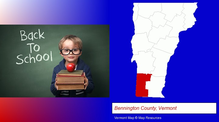 the back-to-school concept; Bennington County, Vermont highlighted in red on a map