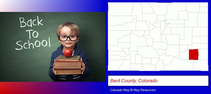 the back-to-school concept; Bent County, Colorado highlighted in red on a map