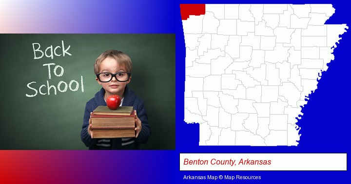 the back-to-school concept; Benton County, Arkansas highlighted in red on a map