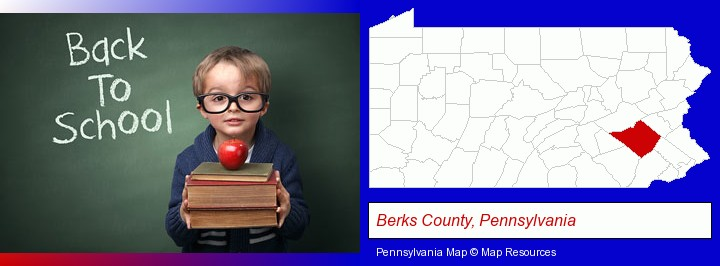 the back-to-school concept; Berks County, Pennsylvania highlighted in red on a map