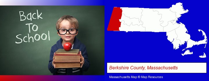 the back-to-school concept; Berkshire County, Massachusetts highlighted in red on a map