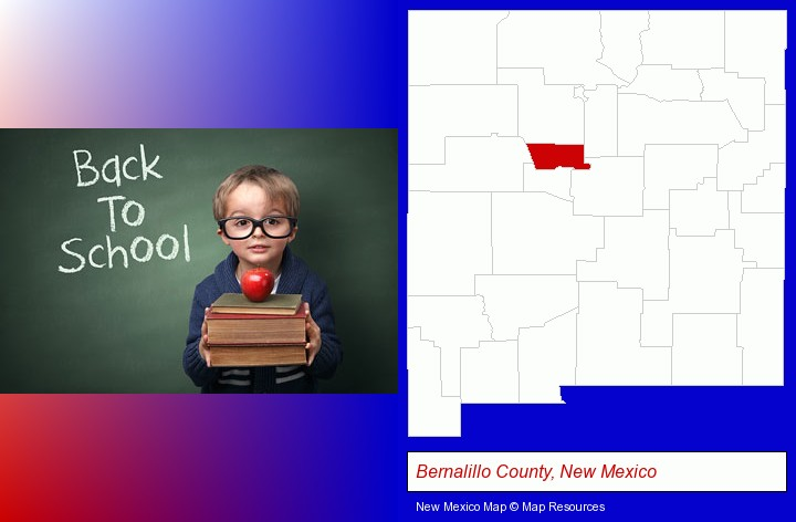 the back-to-school concept; Bernalillo County, New Mexico highlighted in red on a map