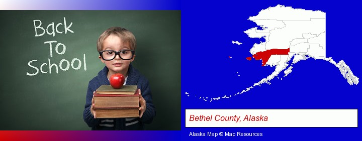 the back-to-school concept; Bethel County, Alaska highlighted in red on a map