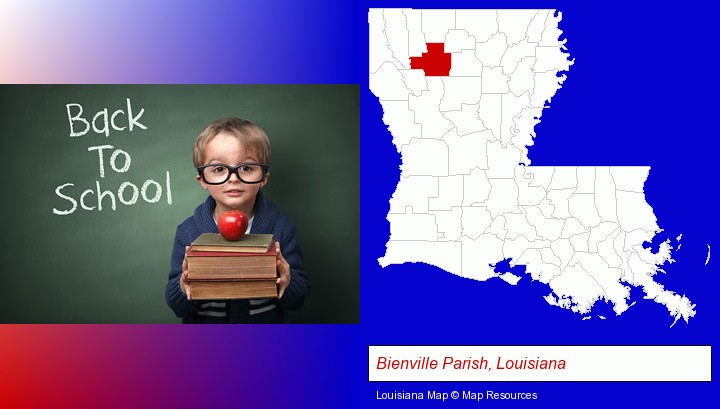 the back-to-school concept; Bienville Parish, Louisiana highlighted in red on a map