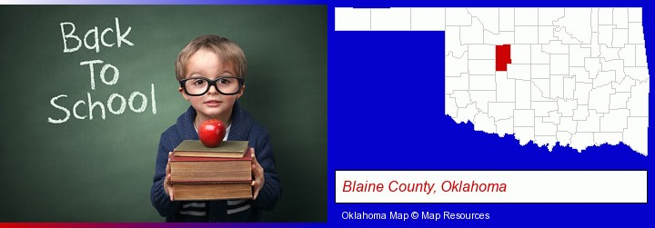 the back-to-school concept; Blaine County, Oklahoma highlighted in red on a map