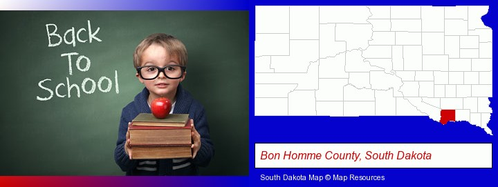 the back-to-school concept; Bon Homme County, South Dakota highlighted in red on a map