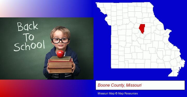 the back-to-school concept; Boone County, Missouri highlighted in red on a map