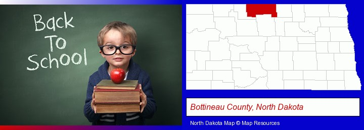 the back-to-school concept; Bottineau County, North Dakota highlighted in red on a map