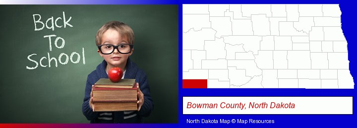 the back-to-school concept; Bowman County, North Dakota highlighted in red on a map
