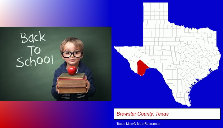 the back-to-school concept; Brewster County, Texas highlighted in red on a map