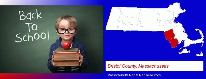 the back-to-school concept; Bristol County, Massachusetts highlighted in red on a map
