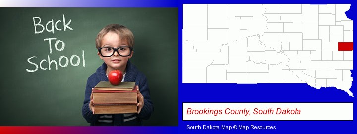 the back-to-school concept; Brookings County, South Dakota highlighted in red on a map