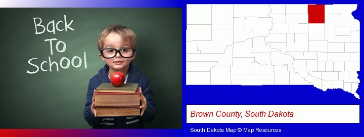 the back-to-school concept; Brown County, South Dakota highlighted in red on a map