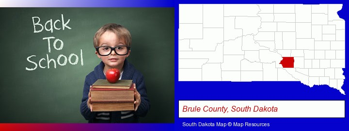 the back-to-school concept; Brule County, South Dakota highlighted in red on a map
