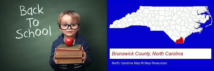 the back-to-school concept; Brunswick County, North Carolina highlighted in red on a map