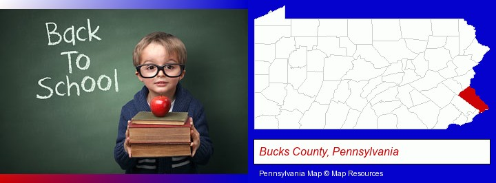 the back-to-school concept; Bucks County, Pennsylvania highlighted in red on a map